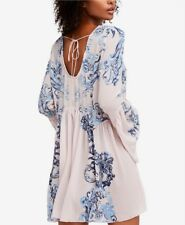 FREE PEOPLE printed Symphony slip Dress Petal blue combo NEW NWT Size XS