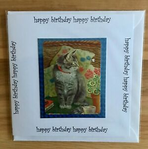 Handmade Birthday card 144x144mm light reflective Tabby cat  print