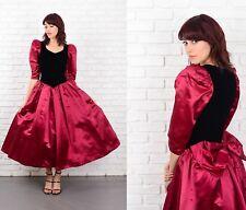 Vintage 80s Black Velvet + Cranberry Puff Sleeve Dress Full Bow Color Block XXS
