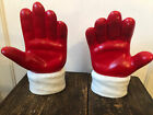 """Ceramic Santa Hands 7.5"""" Left and Right Bookends? Candy Dishes?"""