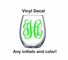 "Vine Font Monogram 3"" Decal perfect for wine glass, yeti, orca, cup"