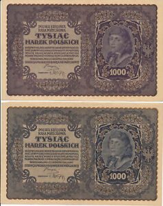 RC0239 Poland 1919 1000 Marek Polskich 4 notes combine shipping