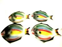 Vintage FISH Shaped Plates Hand Painted Made in Italy From 1978 Set of 4