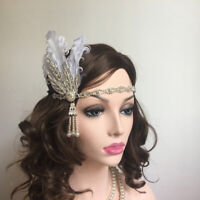 Flapper Headband Feather Crystal 1920s Headpiece Cocktail Hair Accessories