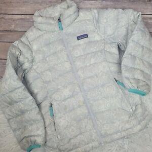 Patagonia Girls Gray Floral Goose Down Puffer Jacket Kids Size Medium 10