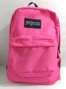 NWT Jansport Super Break Flourescent Pink Backpack School Book Bag
