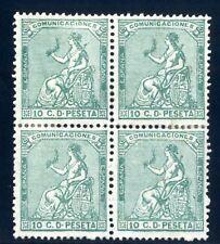 Sellos de España 1873 nº 133 verde 10 centimos bloque cuatro color intenso Nuevo