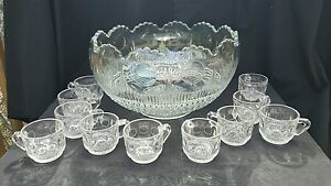 EAPG U.S. Glass MANHATTAN Punch Bowl Set & 11 Cups. Tiffin Franciscan