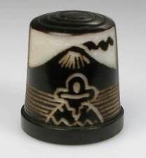 Fingerhut thimble Tagua-Nuss schwarz gefärbt Ureinwohnergeschnitzt aus Ecuador
