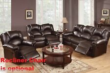 Living Room 2 Piece Motion Sofa & Motion Loveseat Espresso Bonded Leather