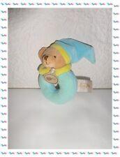 J - Doudou Hochet Grelot Ours Bleu Beige Jaune Petit Bonnet Baby Nat