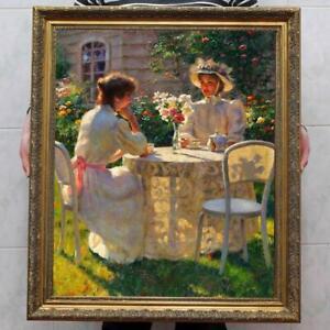 "Old Master-Art Antique Oil Painting Portrait garden Noblewoman on canvas 30""x40"""