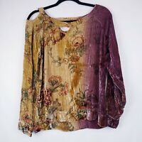 Cha Sor Velvet Woman's Long Sleeve Top Floral ombre Cutout Blouse Size Small