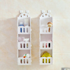 White Wooden Wall Shelf for Bathroom, 3 Tiers Basket Holder Decoration Idea, 1pc
