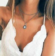 Layered Fashion Women Boho Silver Chain Dripping Stones Pendant Choker Necklace