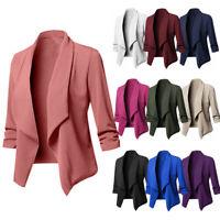 Plus Size Women Collar Suit Jacket Coat Blazer Ladies 3/4 Sleeve Cardigan Top Z