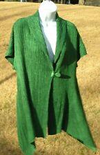 Caelian Green Ribbed Jacket Sweater Wrap Shrug Cap Sleeve Drape Style Sides S/M