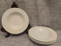 "Set of 4 Wide Rim Soup Bowls 9"" by Oneida Wicker White Weave Stoneware Classic"