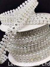 12mm Perla e Diamante Quadrato Piatto Indietro Abbellimenti 3m FULL Roll Bianco