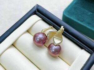 charming  10-11mm south sea round lavender pearl earring 925s(shangpin)