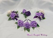 WEDDING FLOWERS PURPLE+LILAC ROSE BOUQUET, BRIDE BRIDESMAID FLOWER GIRL PACKAGE