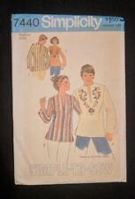 Simplicity 7440 Pattern 1976 Vintage Size 12-14 Misses Pullover Top NOS