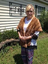 LONG Autumn Haze MINK Fur Stole BROWN Jacket Cape Coat Wrap Shepard's REDUCED