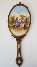Victorian Bronze Beveled Hand Mirror - Courting Couple portrait on Porcelain
