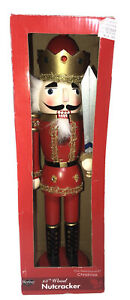 """Sterling Nutcracker 15"""" Wood Toy Soldier Christmas Nut Cracker in Box Preowned"""