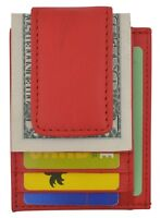 Mens Leather Wallet Money Clip Credit Card ID Holder Front Pocket Thin Slim Red
