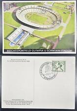 GERMANY 1936 OLYMPICS, special EXPO-Postmark on Stadium Pic PPC !!!, Soccer,Swim