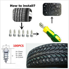 100x 15mm Ice Road Car Tire Anti-Slip Stud Spikes Tire Accessories+1 Sleeve tool