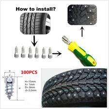100x 15mm Ice Road Car Tire Anti-Slip Stud Spikes Tire Accessories+1 Sleeve tool