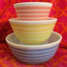Pyrex Rainbow Stripes Bowls Nesting Set Blue 403 Yellow 402 Pink 401