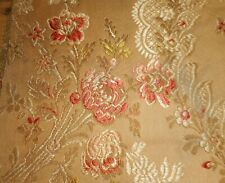 Antique French Softened Tawny Apricot Brown Olive Roses Garland Cotton Fabric