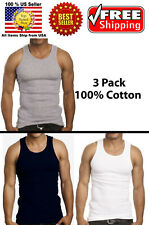 Lot of 3-6 Pack Men 100% Cotton A-Shirt Tank Top Wife Beater Ribbed Undershirt