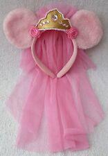 Tokyo Disney Resort Headband Minnie Mouse Ears Tiara & Pink Wedding Veil Japan