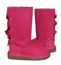 New Ugg Classic Bailey Bow Tall Cerise Bright Fuchsia Pink Boots Girls Youth 1