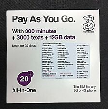 "3UK ""Pay As You Go"" Prepaid SIM 12GB Data 30-Day US Europe 42 Countries"