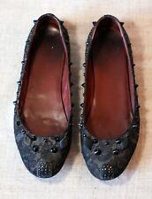 MARC JACOBS black lace studded mouse cat shoes ballet flats sz 39-40 8-8.5 6-6.5