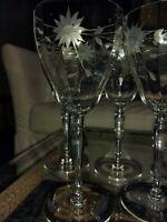 Set Of 7 Large (10 oz) Wine Glasses Etched Panelled