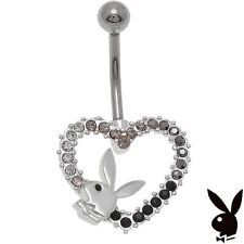 Playboy Belly Ring Body Jewelry 14g Surgical Steel Heart Bunny Black Crystal a1