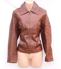 Women's FISHBONE Bomber Brown 100% Real Leather Trucker Jacket Coat Size M