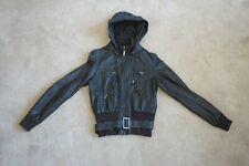 XL Creation Womens PVC Hooded Coat Biker Jacket Dark Brown UK 12