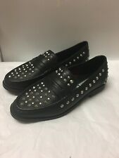 Musse Cloud Black Leather Studded Loafers Size 8 Euro 39
