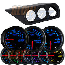 02-07 Subaru Impreza WRX STi Triple Gauge Clock Pod + 3 Black 7 Color Gauges