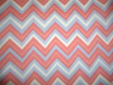 Chevrons Zig Zags CoralGray Cream Cotton Quilt Fabric BTY