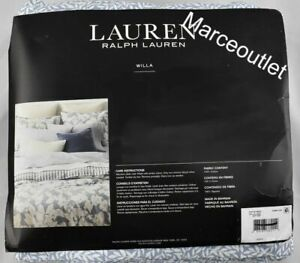Ralph Lauren Willa Leaf Cotton QUEEN Sheet Set Chambray Blue