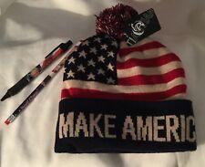 TRUMP 3 Items = SKI CAP HAT + PHOTO PEN + PENCIL MAKE AMERICA GREAT AGAIN USA