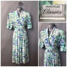 Vintage Principles Classics Green Floral Pleated Retro Dress UK 12 EUR 38
